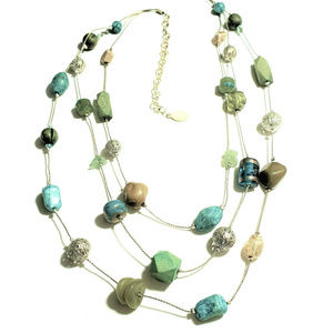 Turquoise and Green Necklace Signed